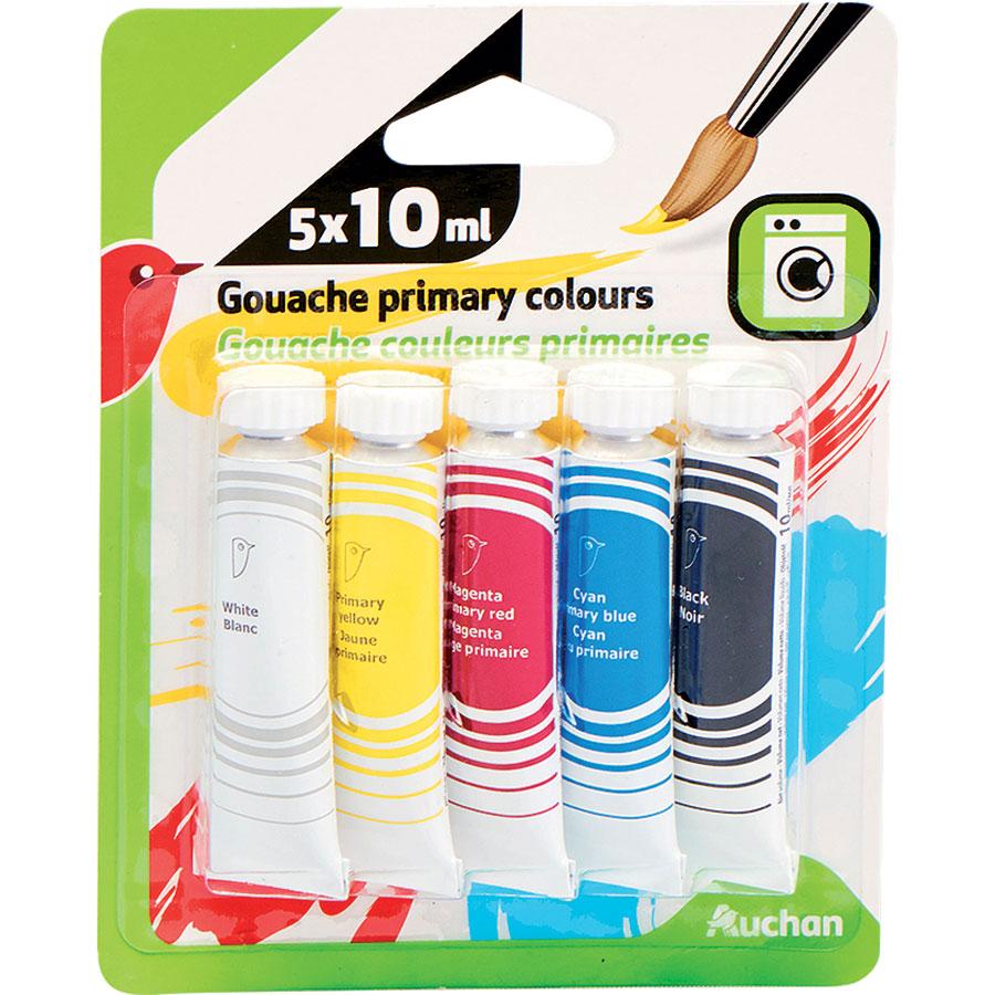 Auchan Gouache couleurs primaires, 5 tubes -