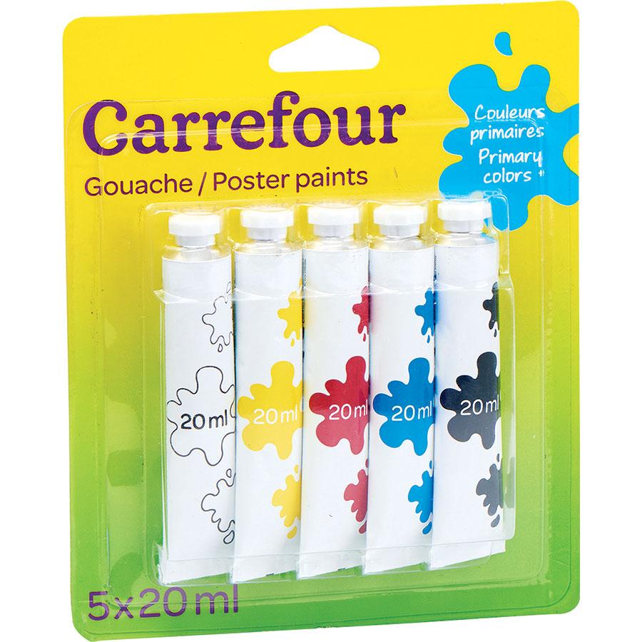 Carrefour Gouache couleurs primaires, 5 tubes -