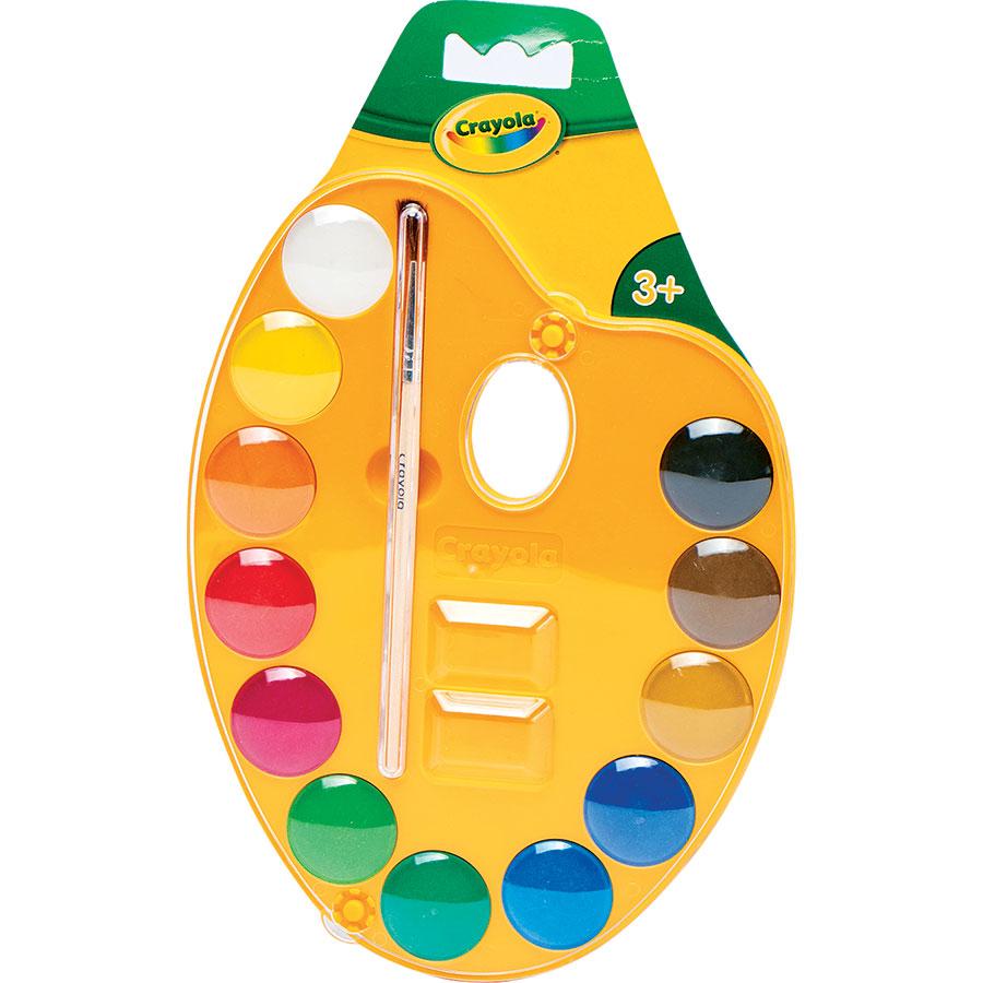 Crayola Palette peinture (12 couleurs) et pinceau -