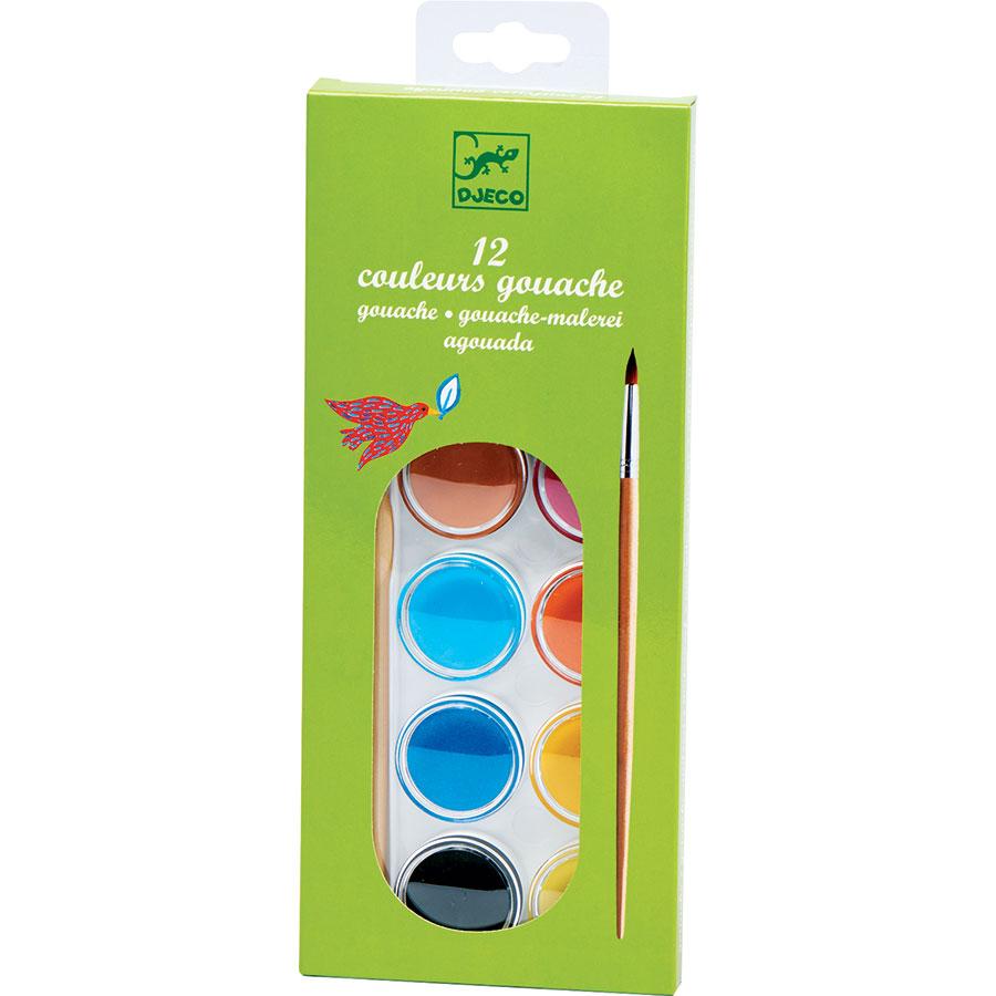 Djeco 12 couleurs gouaches et pinceau -