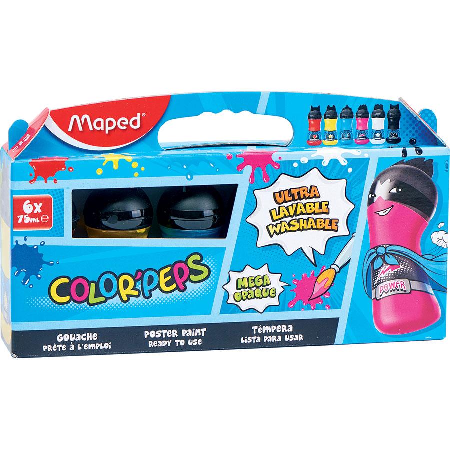 Maped Color'peps mega opaque ultra lavable, 6 flacons -