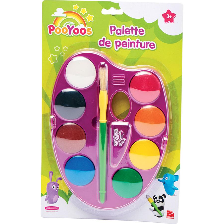 Pooyoos Palette de peinture (8 couleurs) et pinceau -
