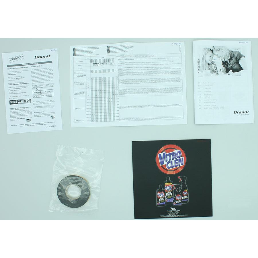 Brandt TI131B - Accessoires et documents livrés avec le produit