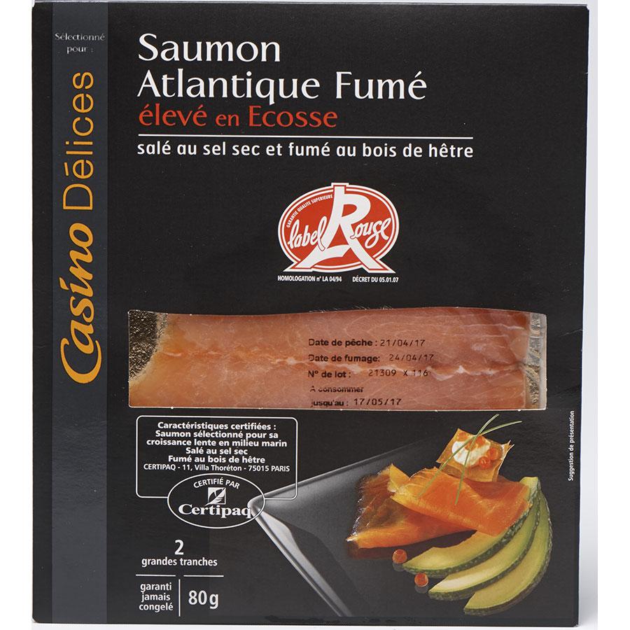 Casino Délices Saumon Atlantique fumé Écosse, Label Rouge -