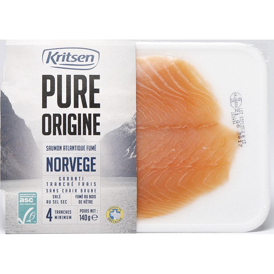 Kritsen Pure origine, saumon Atlantique fumé Norvège -