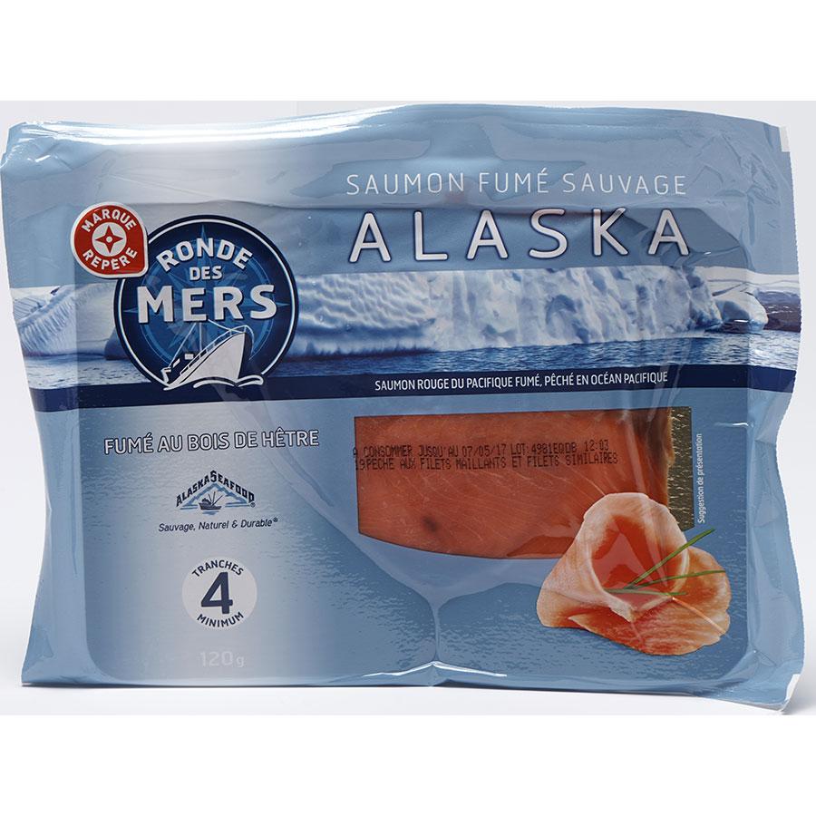 Ronde des mers, Marque Repère (Leclerc) Saumon fumé sauvage Alaska -