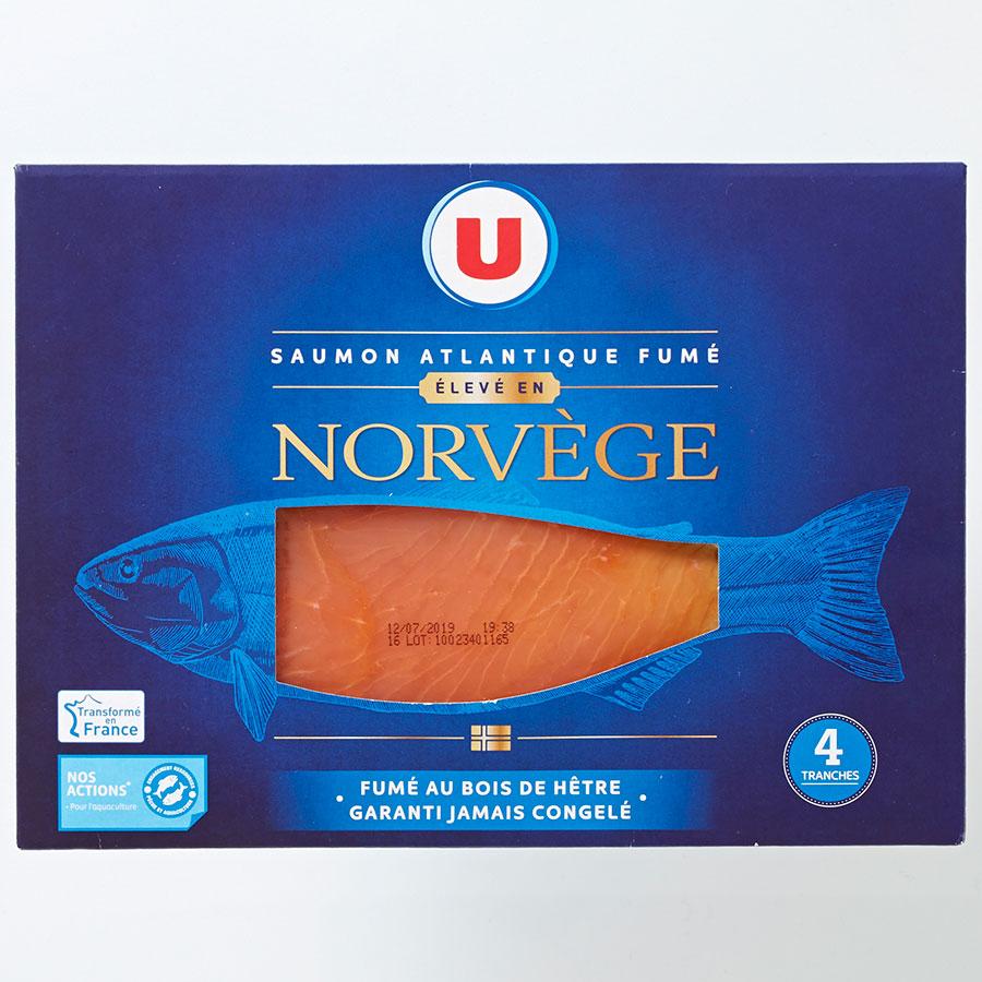U Saumon Atlantique fumé élevé en Norvège -