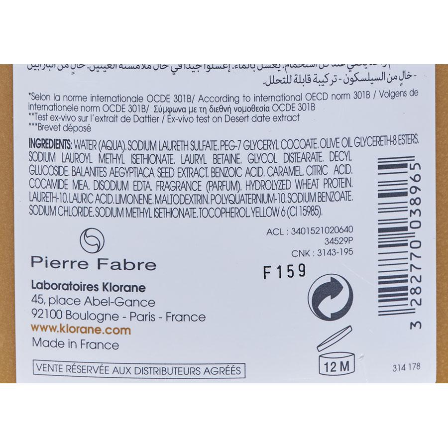 Klorane Nutri-réparation - Shampooing au dattier du désert - Liste d'ingrédients