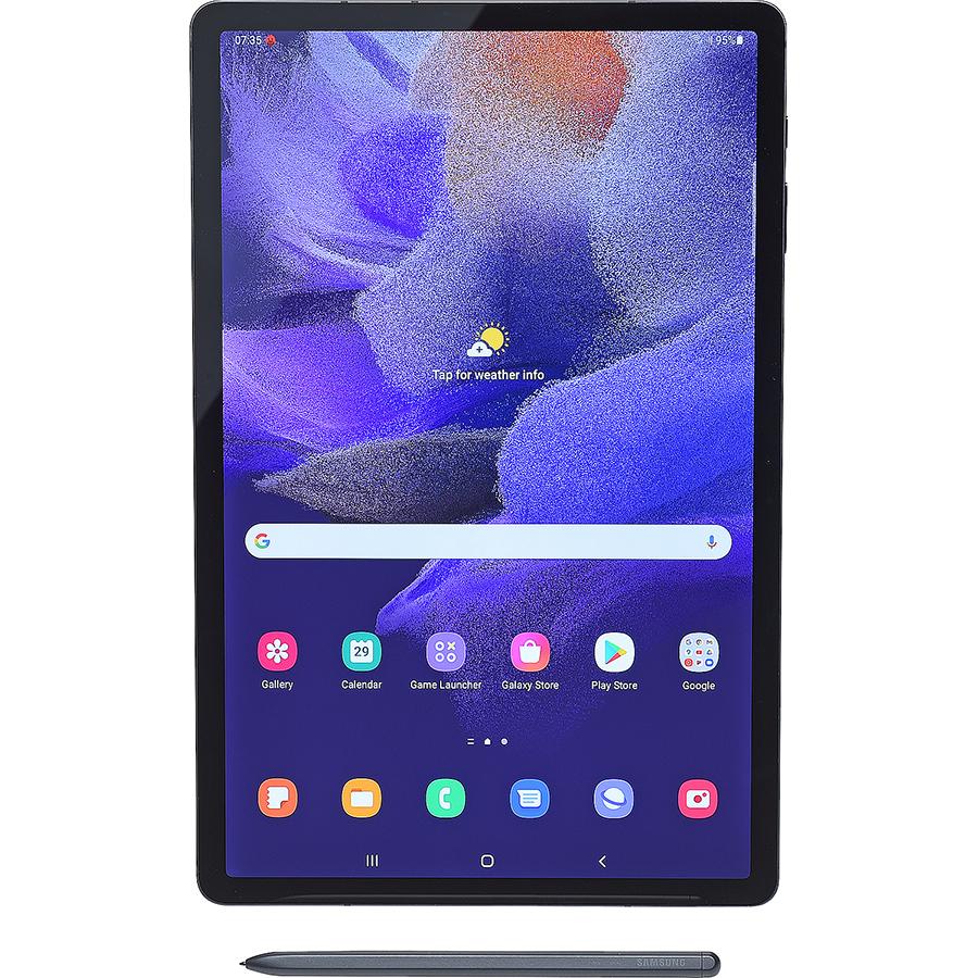 Samsung Galaxy Tab S7 FE 5G - Vue à la verticale avec le stylet fourni