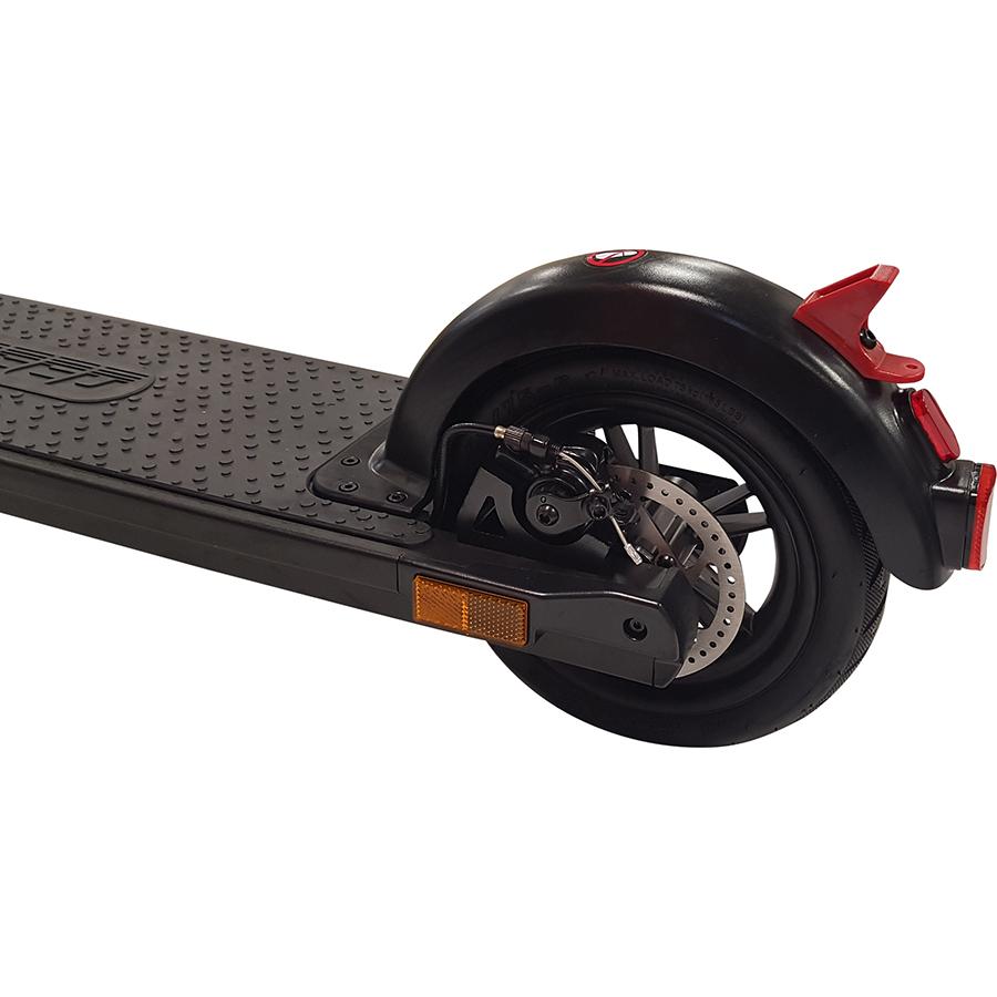 Wispeed T855 noire - Comme à l'avant, le pneu arrière est gonflable. Mais le frein à disque est trop mou.