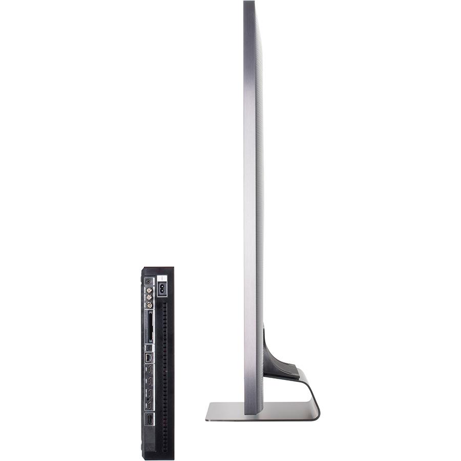 Samsung QE65Q90R - Vue de côté et boitier de connexion