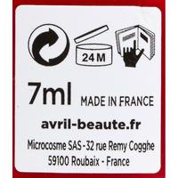 Avril Rouge vermillon n°33 - Etiquette sans liste des ingrédients